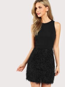 Faux Feather Bottom Dress