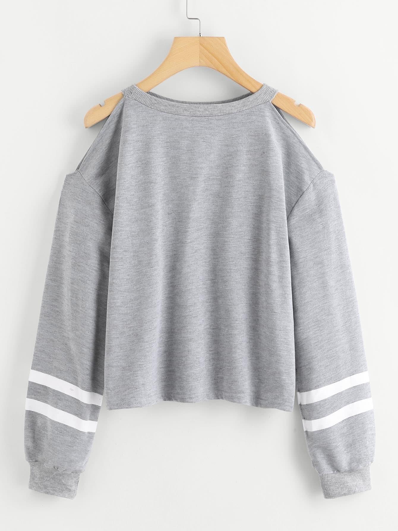 f74e7247b95 Cold Shoulder Varsity Striped Sweatshirt EmmaCloth-Women Fast ...