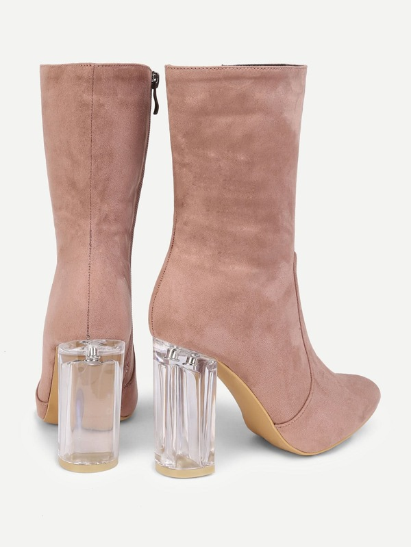20c03d45aa3 Clear Heeled Pointed Toe Suede Boots -SheIn(Sheinside)