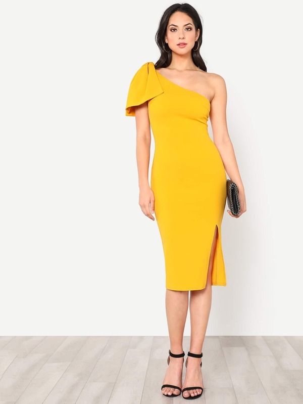 6cd22d7cbe45 Exaggerate Bow Detail One Shoulder Dress