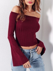 Bell Sleeve Off Shoulder Ribbed Tee