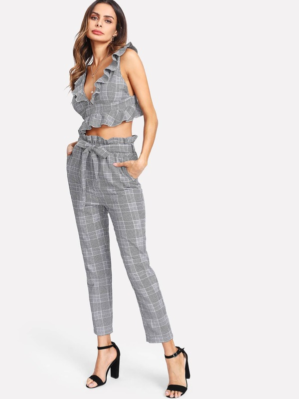 Ruffle Deep V Neck Top   Self Belt Pants Set  cc670279e