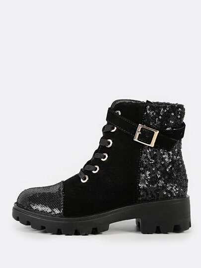 Velvet Lace Up Sequin Military Boots BLACK