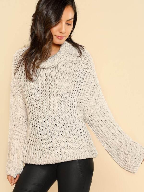 Oversized Knitted Cowl Neck Bell Sleeve Sweater BEIGE -SheIn(Sheinside)