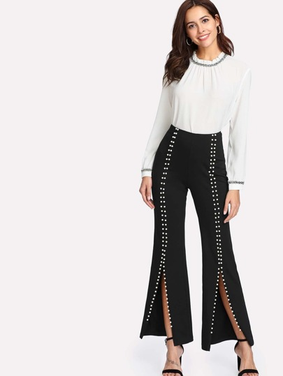 Pearls Beaded Detail Split Front Pants