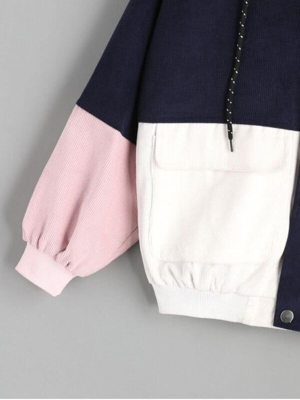 Color Block Drawstring Hooded Jacket -SheIn(Sheinside)