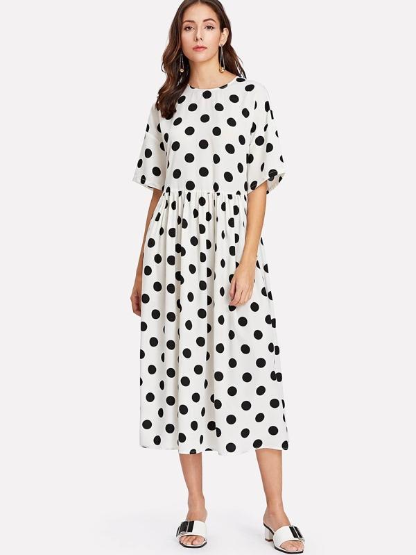 8ee901b45ae Polka Dot Print Smock Dress -SheIn(Sheinside)
