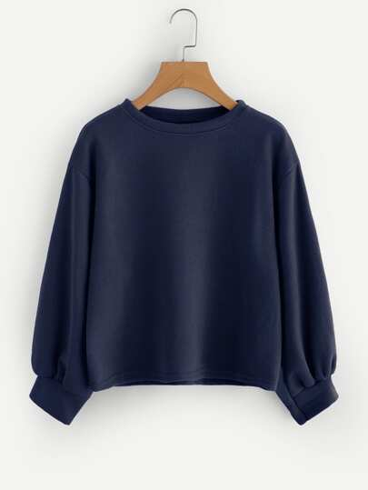Drop Shoulder Lantern Sleeve Ribbed Sweatshirt
