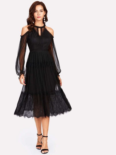 Cold Shoulder Mesh Overlay Keyhole Pleated Dress