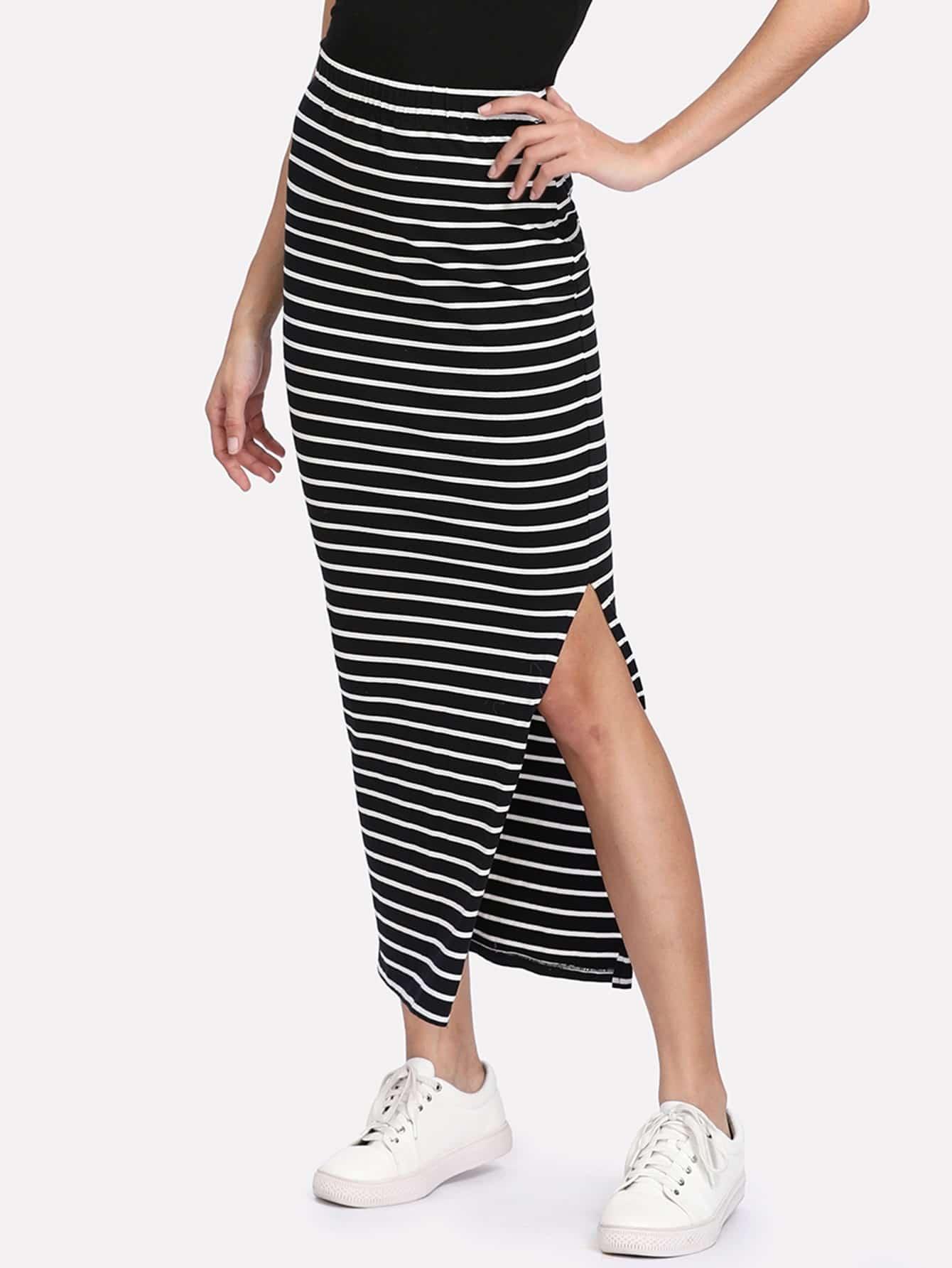 Slit Side Striped Skirt