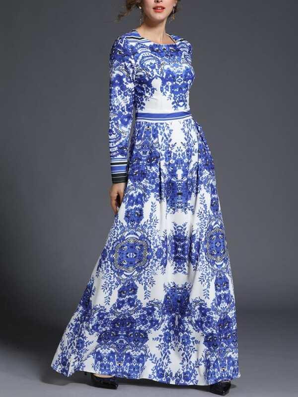 Langes Porzellanmuster Mit Porzellanmuster Langes Kleid Kleid Mit 0wOk8nPX