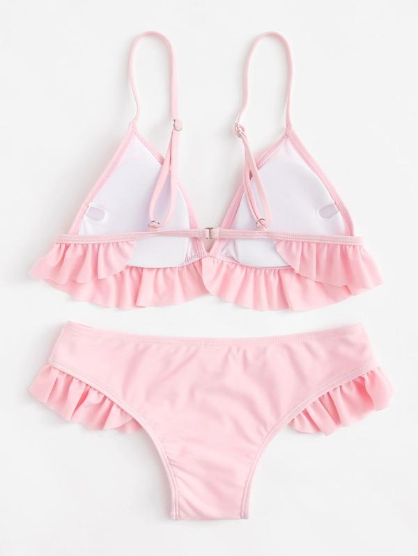 62b01e3a39 Ruffle Hem Thin Strap Top With Seam Bikini Set | SHEIN
