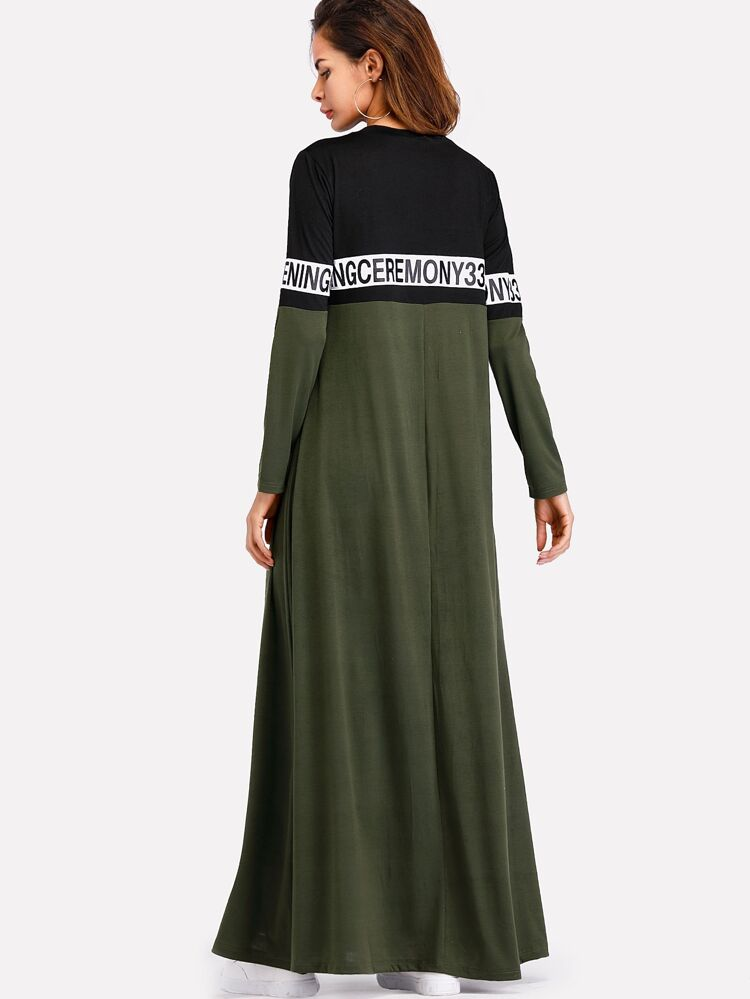00db8d54f9 Letter Tape Cut & Sew Swing Maxi Dress | SHEIN