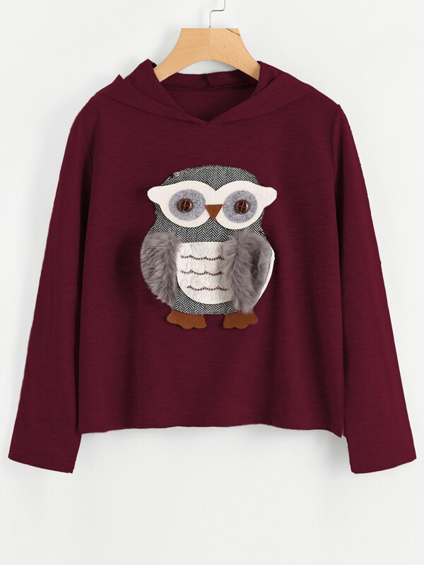 77e3b9d08fa4 Cheap 3D Owl Applique Faux Fur Detail Hoodie for sale Australia