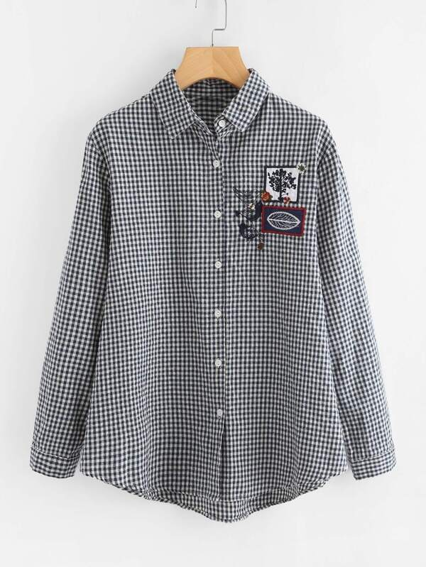 Embroidered Patch Dolphin Hem Gingham Blouse Shein Sheinside