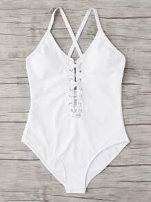 Criss Cross Swimsuit SHEIN