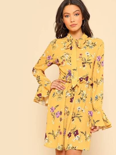 Tie Neck Elastic Waist Floral Dress