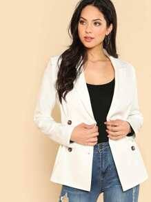 Double Breasted Fold Pleat Detail Blazer