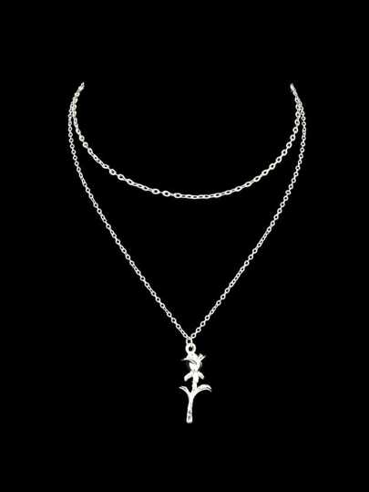 Silver Multi Layers Chain With Rose Flower Charm Pendant Necklace