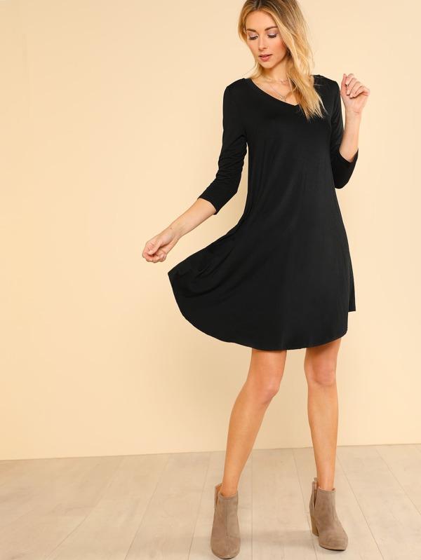 50c30e0cd3c1 Quarter Sleeve Flowy Dress BLACK | SHEIN UK