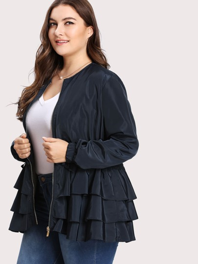 Plus Tiered Layer Ruffle Jacket