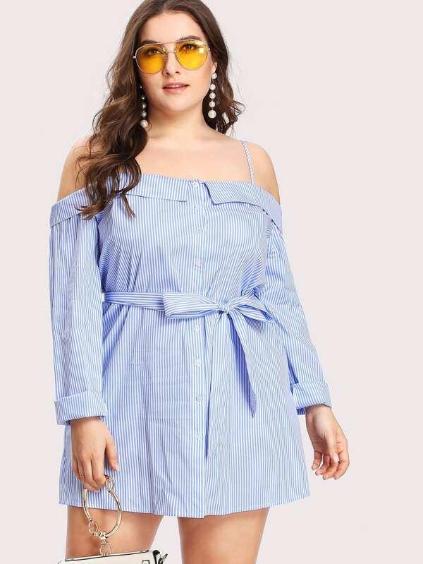 e4fad6198b3c33 Cheap Plus Fold Over Button Up Front Striped Shirt Dress for sale Australia  | SHEIN