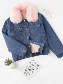 Detachable Fleece Neckline Denim Jacket