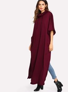 4377dafed2 Drawstring Neck Slit Side Kaftan Dress | SHEIN UK