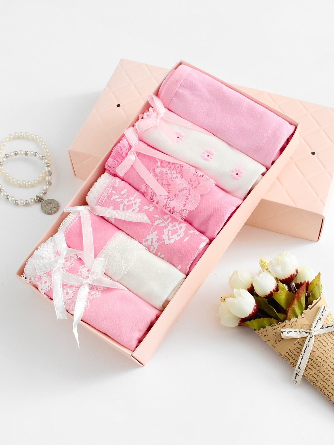 Bow Decorated Lace Insert Panty 6pcs -SheIn(Sheinside)