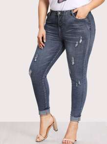 Plus Dual Pocket Back Ripped Jeans