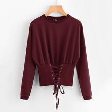 Grommet Lace Up Wide Hem Sweatshirt