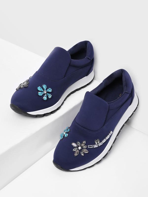 Zapatillas slip on con diseño de diamante de imitación