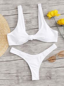 Knot Front Top With High-cut Bikini Set