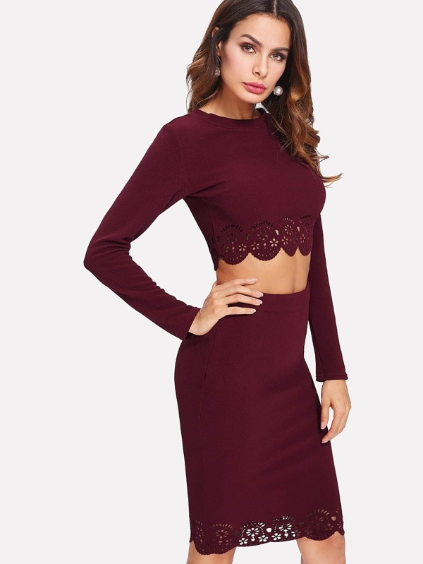 0a03459f9a Scallop Laser Cut Top & Pencil Skirt Co-Ord | SHEIN IN
