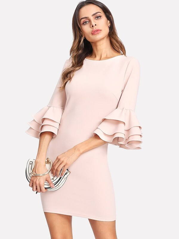 7b0ba7cc Exaggerate Layered Ruffle Sleeve Dress | SHEIN