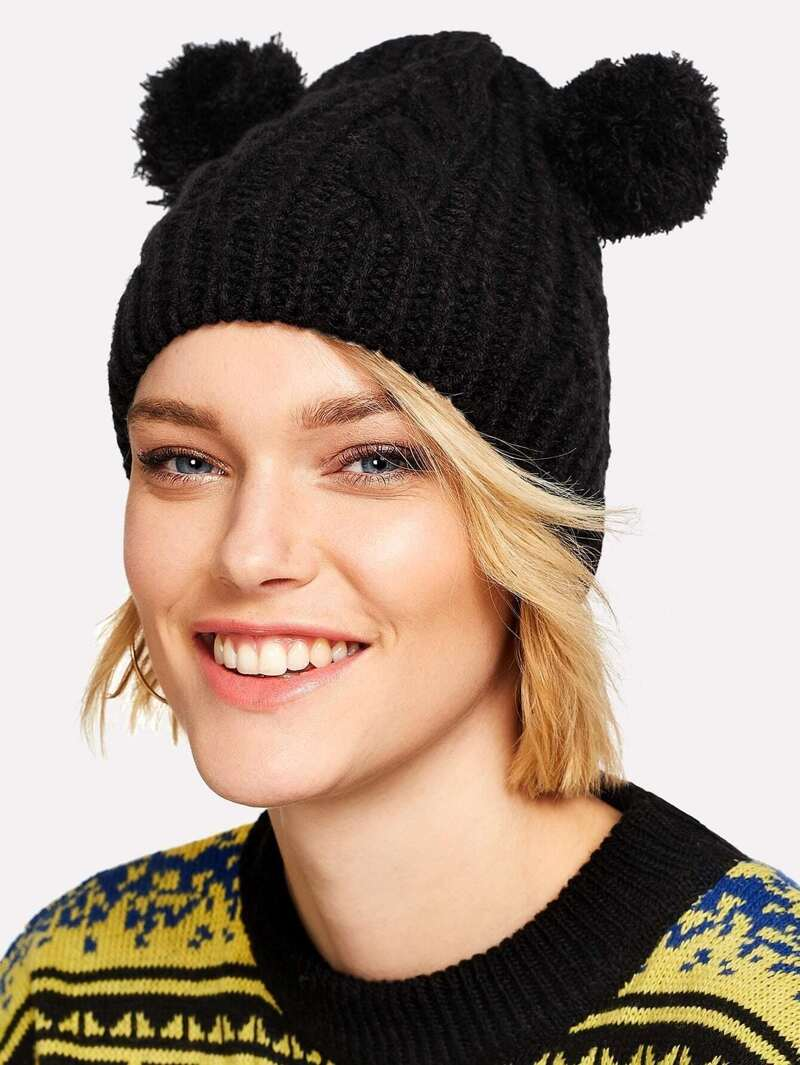84bfd2df1 Pom Pom Ear Knit Beanie Hat