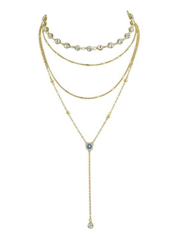Gold simple diamond pendant multi layer necklace sheinsheinside aloadofball Images