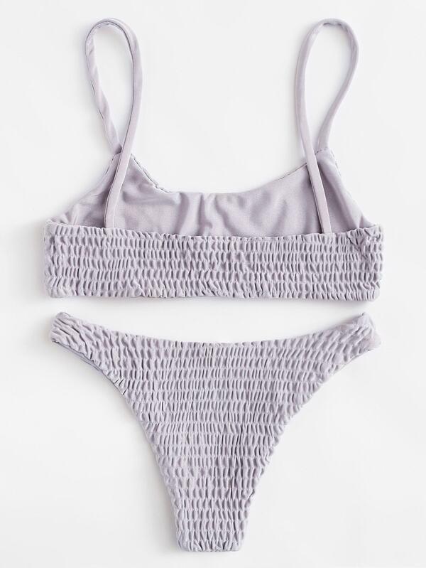 25fb4f723bf Smocked Cami Top With High Leg Bikini Set   SHEIN