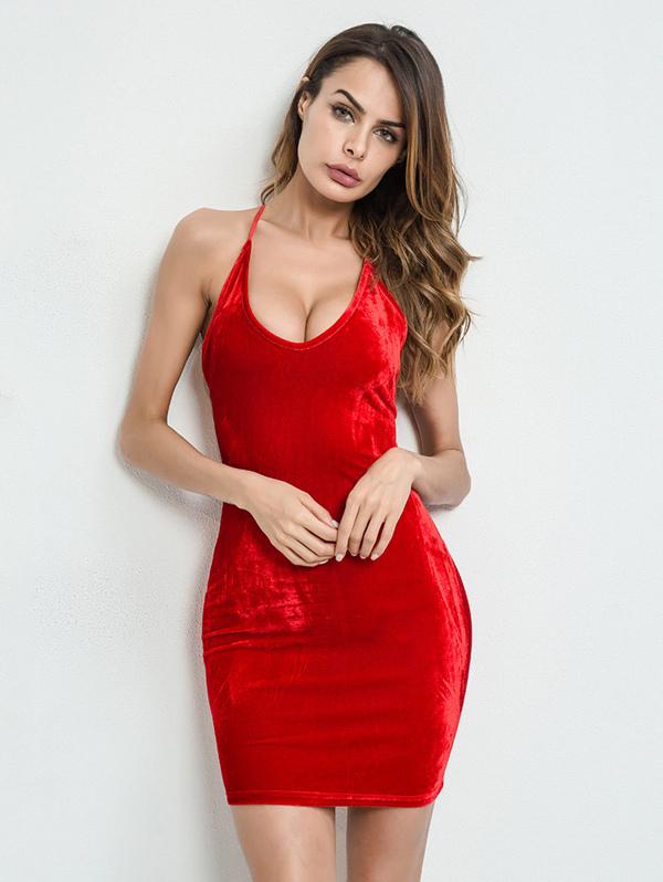 5bca3c598bd0 Lace Up Back Velvet Bodycon Cami Dress | SHEIN IN