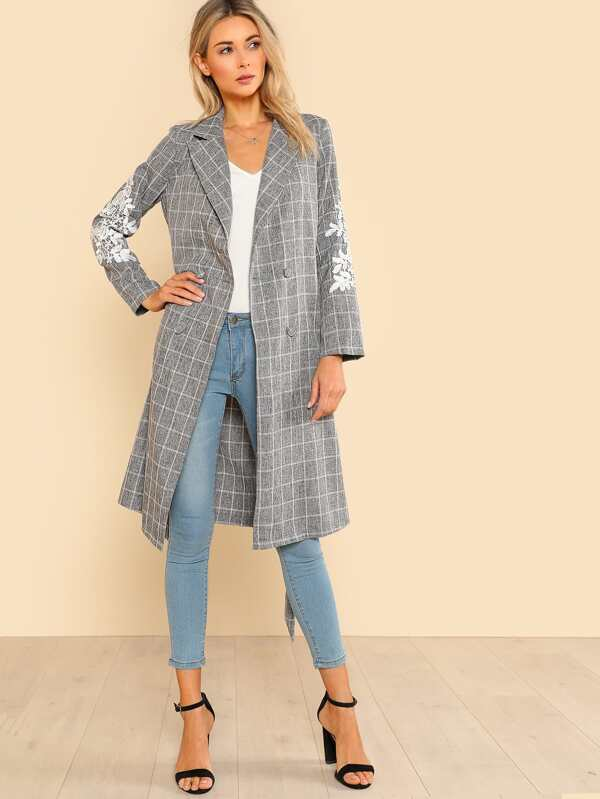 cf63b6088 Lace Applique Double Breasted Grid Coat