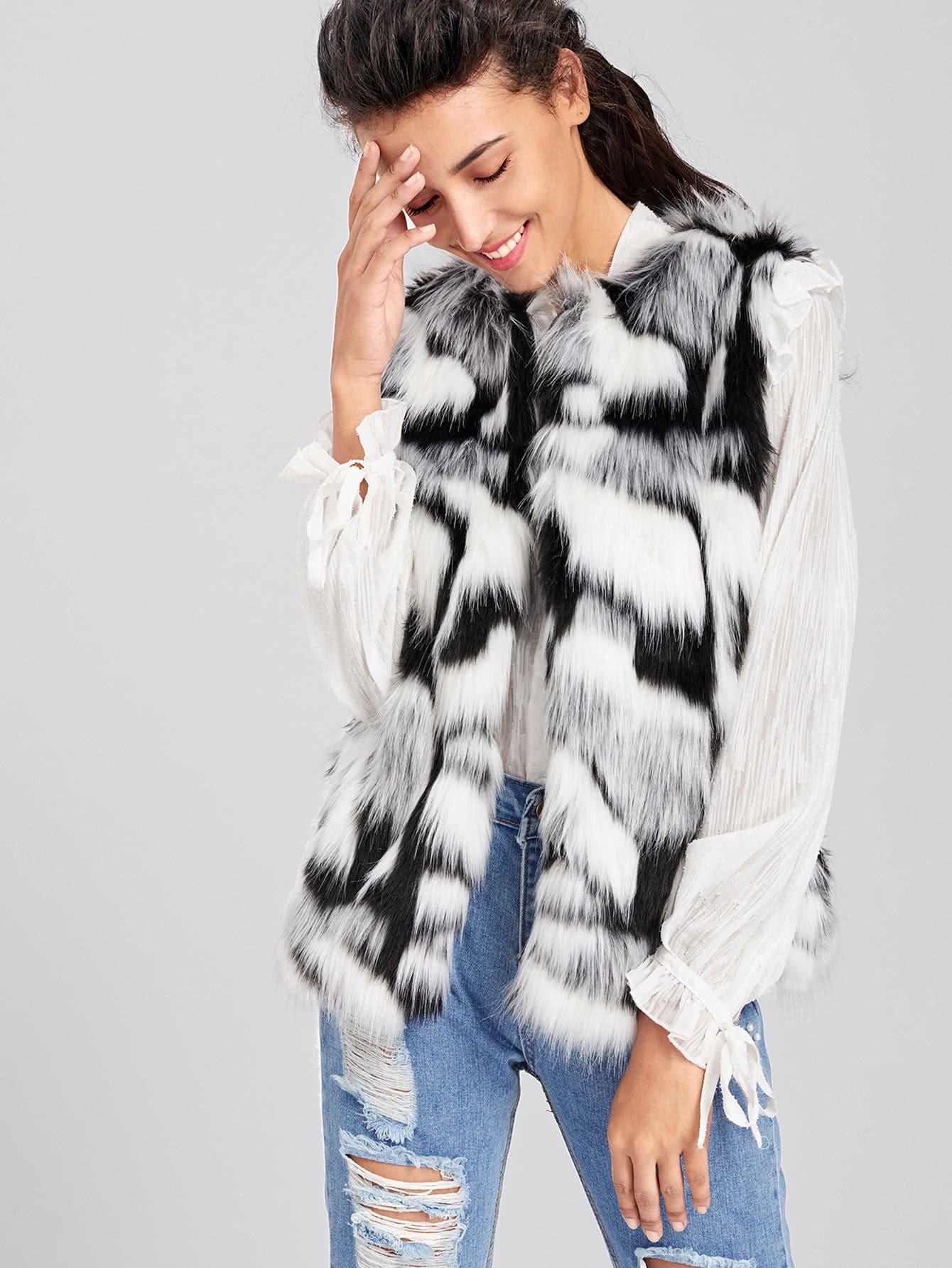 Colorful Faux Fur Vest   ROMWE