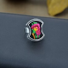 Red Handmade Embroidery Flower Pattern Geometric Ethnic Rings
