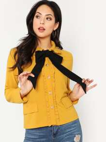 Contrast Bow Tie Neck Frilled Jacket
