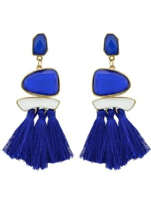 Blue Bohemian Style Ethnic Statement Big Tassel Drop Earrings