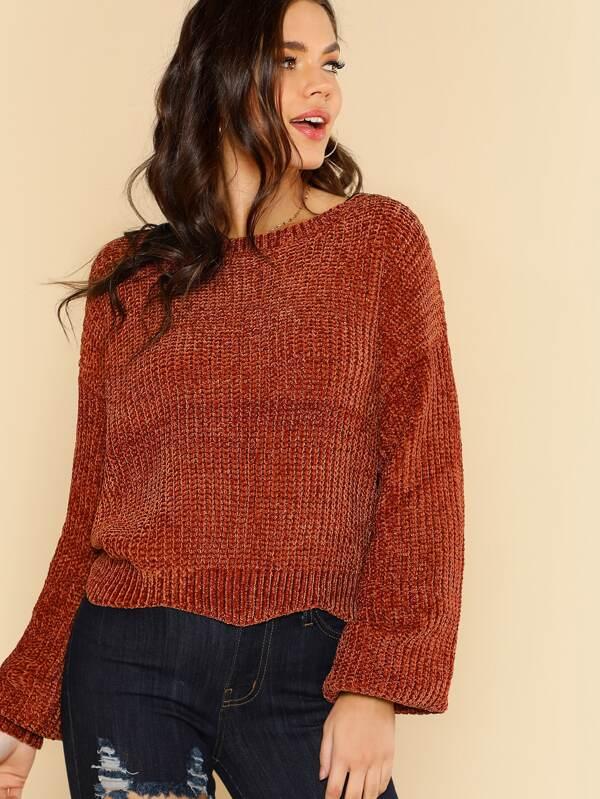 de1c9abe3 Long Sleeve Chenille Knit Sweater BRICK