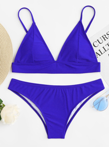 V Plunging Triangle Top With High Leg Bikini Set
