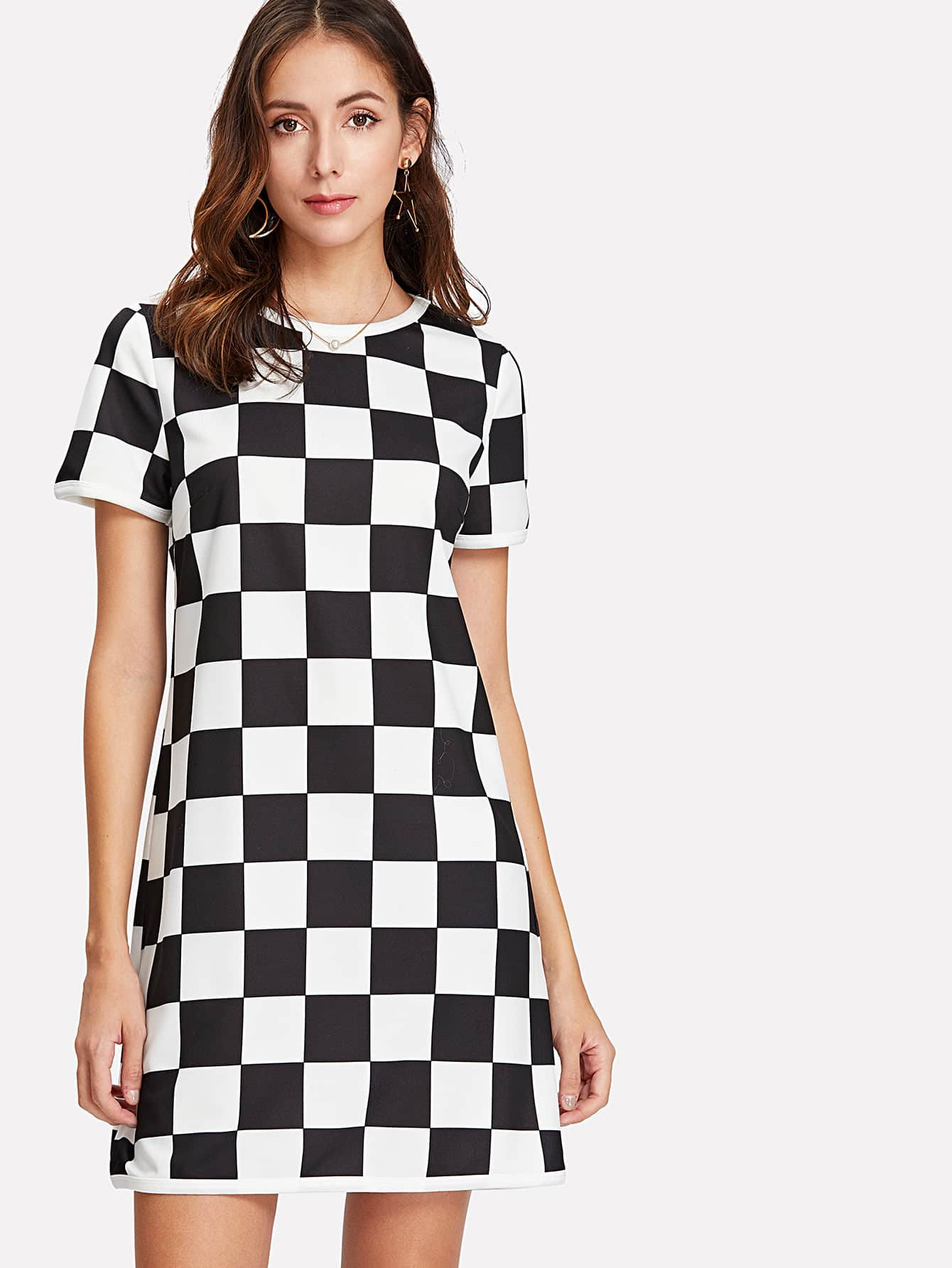 6982c73962 Short Sleeve Checkered Dress | SHEIN
