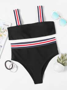 Striped Straps Top With High Waist Bikini