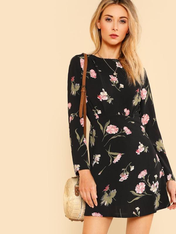 6828c6883e Cheap Floral Print Long Sleeve Dress BLACK MULTI for sale Australia | SHEIN