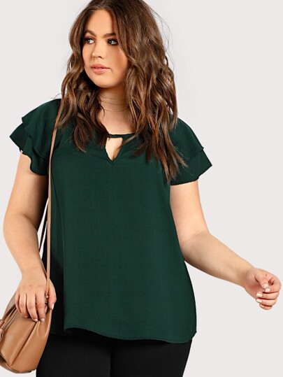 95244cbc20aed Plus Front Keyhole Loose Top